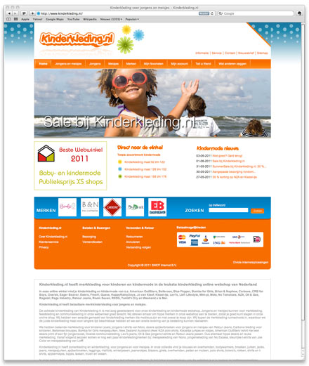 Kinderkleding.nl website screenshot