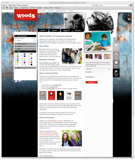 Woods.nl kinderkleding website screenshot