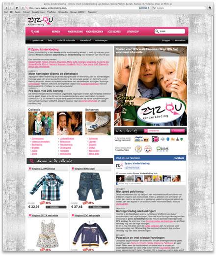 Zyzou.nl kinderkleding website screenshot